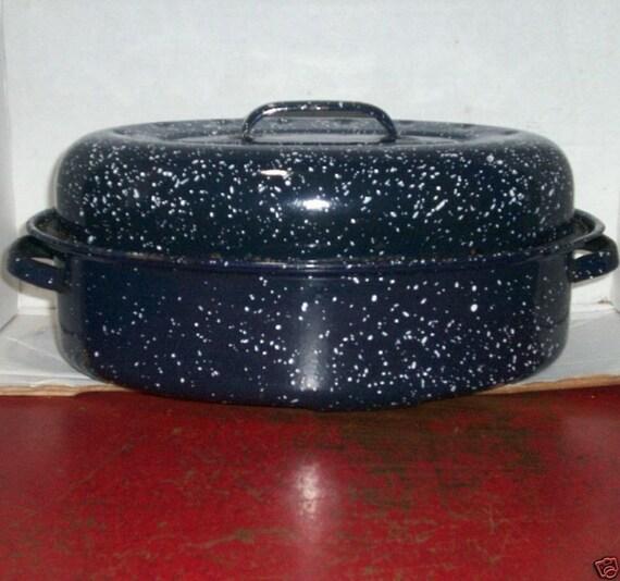 Roast Roasting Pan Baker W Cover Blue Granite Enamel