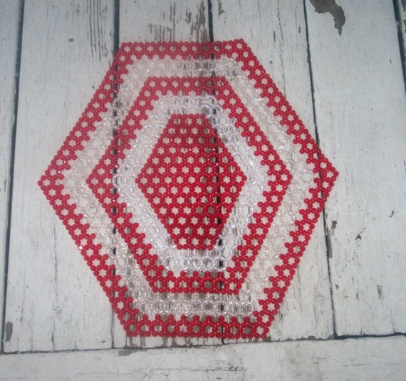 Beaded Table Mat Vintage Retro Red White Geometric Centerpiece