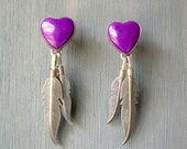 vintage sterling silver purple heart and feather earrings