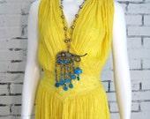 Vintage YELLOW Cotton GAUZE Low V Hippie BOHO Dress
