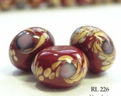 Lampwork Glass Rondelle Beads Lavender Gardens Deep Red (RL 226)  blueecho 5 pcs