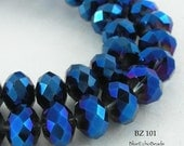Faceted Glass Crystal Beads Deep Cobalt Fire Polished Rondelle - 12mm (BZ 101) blueecho 12 pcs
