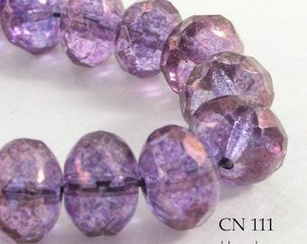 9mm Czech Glass Rondelle Beads Lumi Amethyst (CN 111) 12pcs BlueEchoBeads