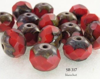 8mm Picasso Rondelle Beads Czech Glass Red Ripe Tomatoes (SB 317) 12 pcs BlueEchoBeads