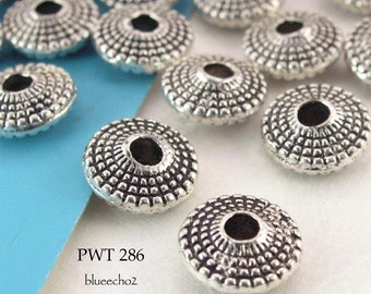 8mm Pewter Beads Antique Silver Beaded Saucer (PWT 286) 25 pcs BlueEchoBeads