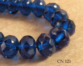 9mm Czech Glass Beads Capri Blue Faceted Rondelle (CN 121) 12pcs BlueEchoBeads