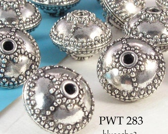 17mm Large Pewter Beads Bali Style with Fine Dot Detail (PWT 283) 4 pcs BlueEchoBeads
