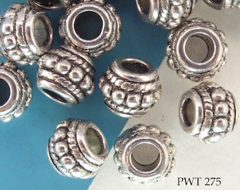 Large Hole Beads Spacer Pewter Barrel Hub 8mm (PWT 275) 10 pcs BlueEchoBeads