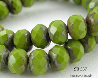 8mm Czech Glass Beads Fresh Avocado Picasso Rondelle (SB 337) 12 pcs BlueEchoBeads