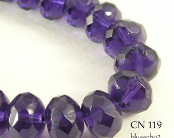 9mm Faceted Czech Glass Beads, Rondelle, Deep Violet, 9x6mm (CN 119) 12pcs BlueEchoBeads