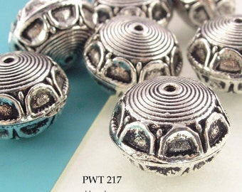 18mm Large Bali Style Pewter Beads, Lightweight,  Circled Rim, Antique Silver (PWT 217) 4 pcs BlueEchoBeads