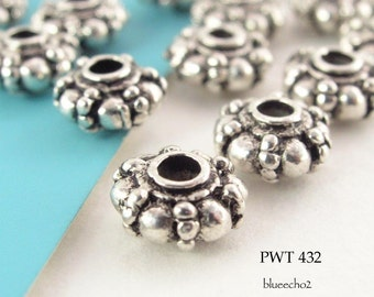 7mm Pewter Beads Puffy Rondelle, Antiqued Silver (PWT 432) 20 pcs BlueEchoBeads