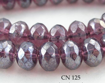 9mm Czech Glass Beads Amethyst Shimmer Rondelle (CN 125) 12pcs BlueEchoBeads