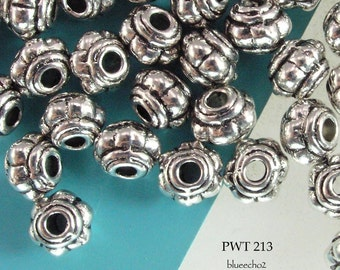 4mm Pewter Spacer Beads Mini Hub Antique Silver (PWT 213) 50 pcs BlueEchoBeads