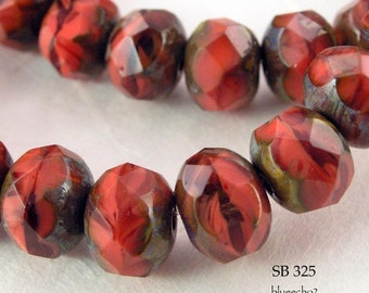 Czech Glass Beads Scarlet Picasso Rondelle (SB 325) blueecho  12 pcs