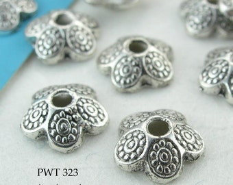 9mm Pewter Bead Caps, Antique Silver, Dotted Petal (PWT 323) 20 pcs BlueEchoBeads