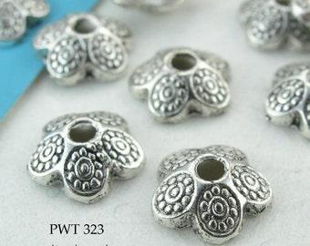 Pewter Bead Caps Antique Silver Dotted Petal 9mm (PWT 323) blueecho 20 pcs