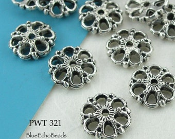 9mm Pewter Lace Bead Caps, Antique Silver (PWT 321) 26 pcs BlueEchoBeads