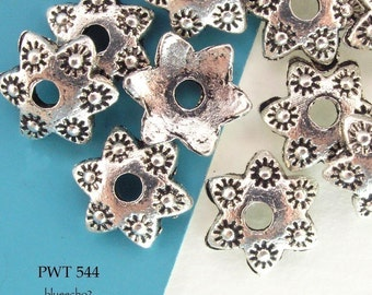 10mm Pewter Bead Caps Star, Antique Silver (PWT 544) 24 pcs BlueEchoBeads