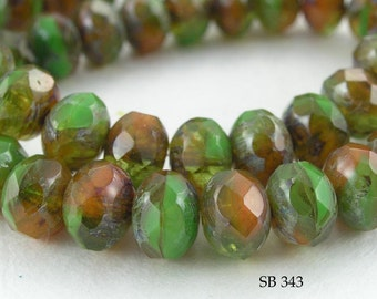 Czech Glass Rondelle Picasso Beads Green Rust Brown Harvest  (SB 343) 12 pcs BlueEchoBeads