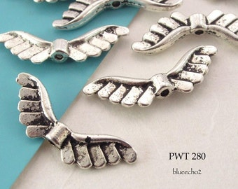 24mm Pewter Wing Beads, Antique Silver (PWT 280) 12 pcs BlueEchoBeads