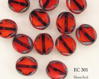 9mm Czech Glass Window Cut Beads Flat Oval Red (EC 301) BlueEchoBeads 10 pcs