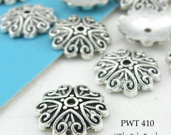 12mm Pewter Bead Caps Antique Silver Scroll (PWT 410) 30 pcs BlueEchoBeads