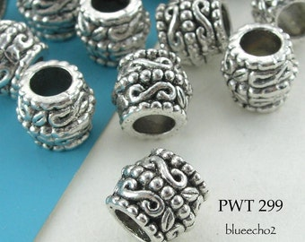 10mm Pewter Beads Large Hole Decorative Barrel Antique Silver (PWT 299) 8 pcs BlueEchoBeads
