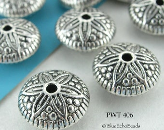 12mm Pewter Spacer Beads, Star Flower, Saucer, Antique Silver (PWT 406) 8 pcs BlueEchoBeads