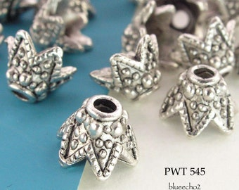 Pewter Cone Bead Caps 10mm Antique Silver (PWT 545) 14 pcs BlueEchoBeads