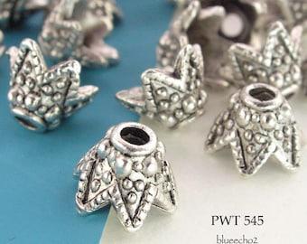 Pewter Cone Bead Caps 10mm Antique Silver (PWT 545) 14 pcs BlueEchoBeads