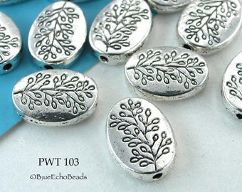10x13mm Pewter Oval Tree Bead, Silver Tone (PWT 103) 8pcs BlueEchoBeads