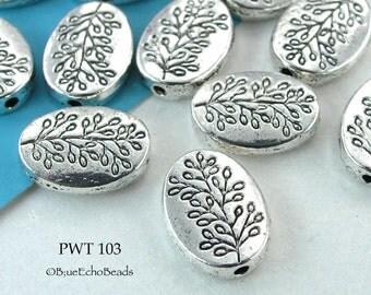 10x13mm Pewter Oval Tree Bead, Silver Tone (PWT 103) 8pcs BlueEchoBeads