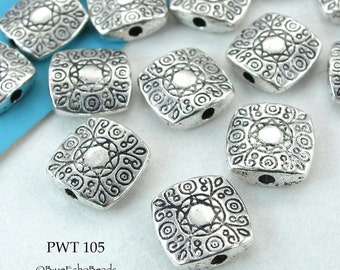 10mm Square Pewter Beads Silver Tone Flower (PWT 105) 12 pcs BlueEchoBeads
