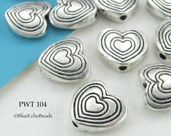 10mm Pewter Beads Heart in Heart (PWT 104) 15 pcs BlueEchoBeads