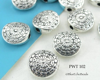 10mm Pewter Beads Flower Disk Spacer Beads (PWT 102) 12 pcs BlueEchoBeads
