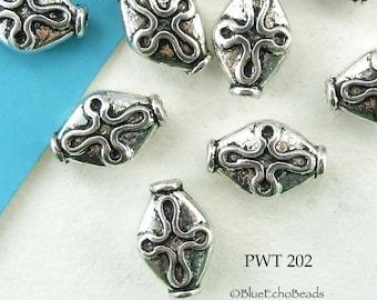 12mm Pewter Beads Diamond with Cross 12x8mm (PWT 202) 15 pcs BlueEchoBeads
