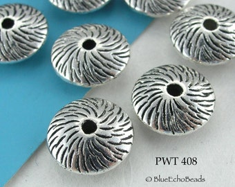 12mm Pewter Saucer Beads Whirlwind (PWT 408) 8 pcs BlueEchoBeads