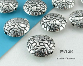 15mm Pewter Coin Beads Crackle Disk (PWT 210) 5 pcs BlueEchoBeads