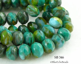 Czech Glass Beads Rondelle Turquoise Jungle Green 8x6mm (SB 346) 12 pcs BlueEchoBeads