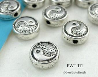 8mm Yin Yang Small Disk, Pewter Beads, Tai Chi Beads (PWT 111) 20 pcs BlueEchoBeads