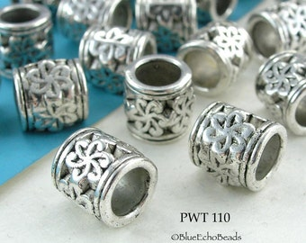 9mm Large Hole Beads Pewter Tube Antique Silver (PWT 110) 6 pcs BlueEchoBeads
