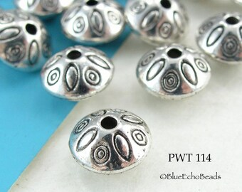 9mm Pewter Spacer Beads Top with Ovals Antique Silver (PWT 114) BlueEchoBeads 10 pcs