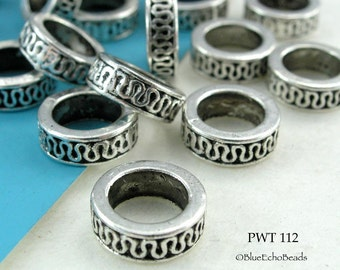 11mm Large Hole Beads, Pewter Ring, Antique Silver (PWT 112) 10 pcs BlueEchoBeads