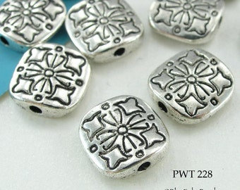 10mm Square Pewter Bead Flower Antique Silver (PWT 228) 10 pcs BlueEchobeads