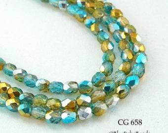 Small 4mm Czech Faceted Glass Beads Fire Polished, Two Ton,e Aqua Gold, Summer Sky (CG 658) 50 pcs BlueEchoBeads