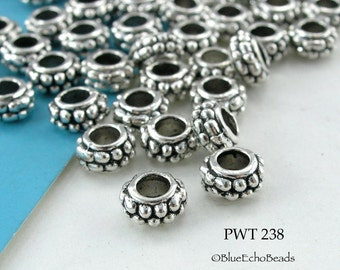 7mm Pewter Spacer Beads, Large Hole, Beaded Edge, Antiqued Silver (PWT 238) 18 pcs