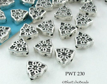7mm Triangle Pewter Beads Silver Tone Spacer Beads (PWT 230) 18 pcs BlueEchoBeads