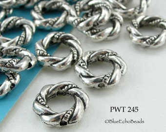 11mm Large Hole Beads, Pewter Twisted Ring, Bead Frame, Antique Silver (PWT 245) 12 pcs BlueEchoBeads