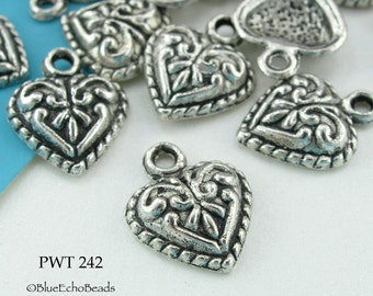 11mm Small Pewter Heart Charm Beads (PWT 242) 18 pcs BlueEchoBeads